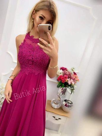 Sukienka fuksja BUGATTI 38/M nowa długa maxi koronkowa nowa piękna