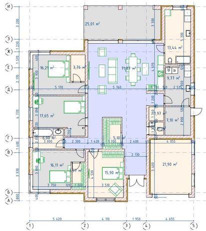 Готовый проект одноэтажного дома, 10000 грн.