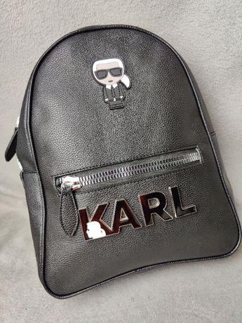 Plecak skórzany Karl Lagerfield skóra torba Czarny Napis HIT Premium