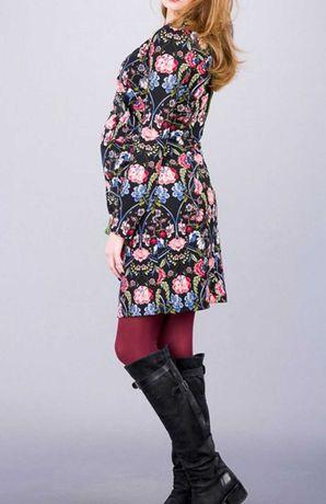 Sukienka ciążowa Audrey 36 S kwiaty, na swieta,gratis rajstopy ciazowe