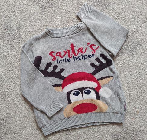 Sweter chłopięcy coccodrillo świąteczny 92 renifer