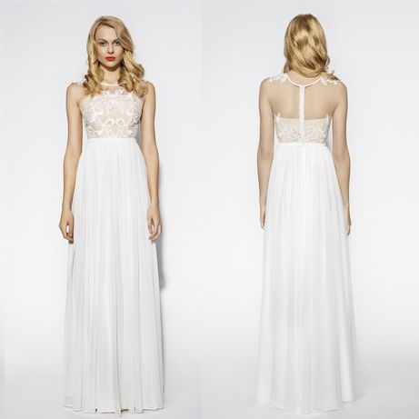 Rina Cossack jedwabna suknia ślubna 36 S Anna Kara minimalistyczna