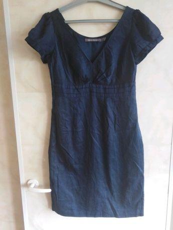 Sukienka z krótkim rękawem elegancka biurowa dekolt serek vintage