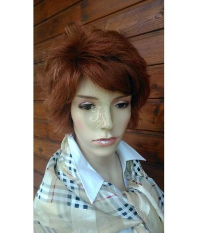 Peruka ruda póldługa klasyczna 100% naturalna włosy naturalne