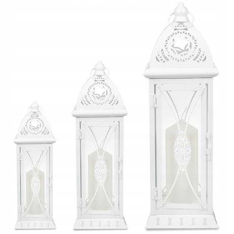 Latarnie lampiony świeczniki ogrodowe zestaw 3 sztuki białe dekoracje