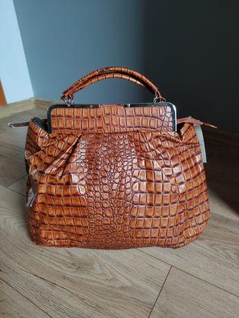 Nowa z metkami torba damska krokodyl eko skóra złote wykończenia