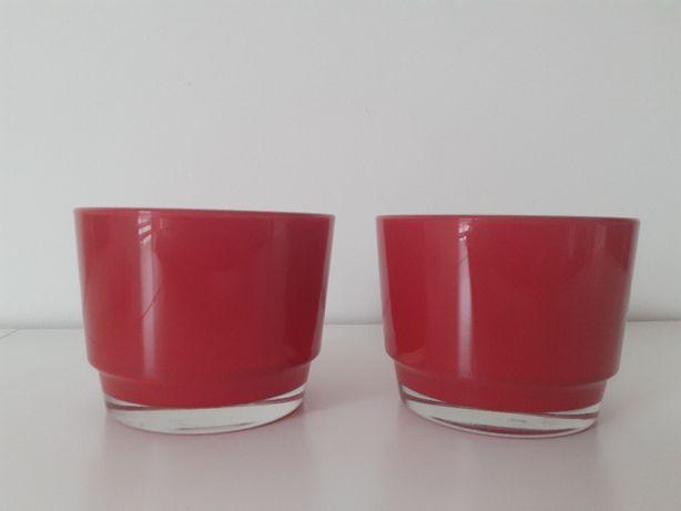 2 doniczki szklane czerwone średnica 12 cm
