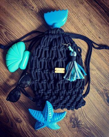 Plecak worek dla dzieci dziecka handmade makrama macrama rękodzieło
