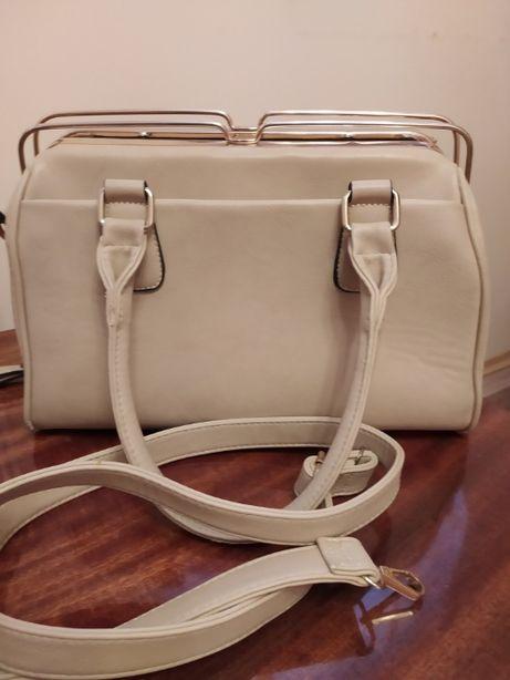 duża, pojemna beżowa torba/torebka
