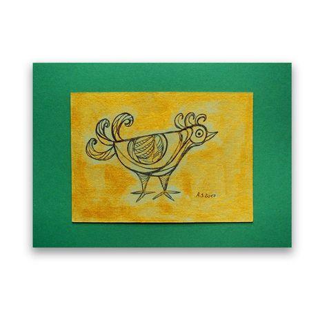 ptak obraz, mały rysunek z ptaszkiem, złoty obraz, zielony obraz ptak