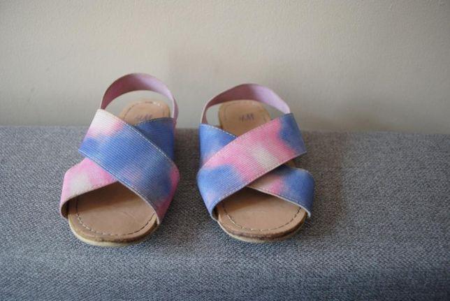 14-> płaskie sandały H&M na gumkę r.26(wypada 24) na 15cm paski kolor