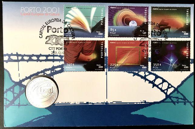 Subscrito FDC Porto 2001 c/ selos, moeda 500 Esc. prata e carimb 1 dia