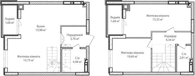 3-х комнатная двухуровневая квартира