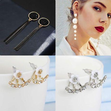 Długie kolczyki eleganckie perełki perły/ złote srebrne za ucho