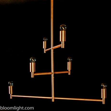 Lampa miedziana, żyrandol z miedzi
