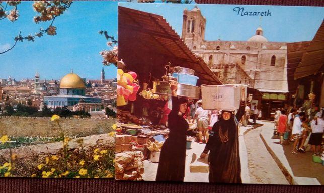 2 Postais antigos Nazaré e Jerusalém circulados 1978