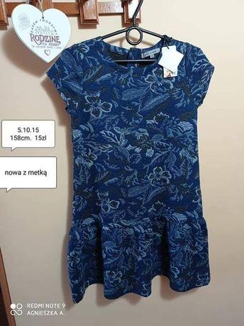 Sukienka 158cm krótki rękaw lato wytłaczany wzorek 5.10.15 nowa galowa
