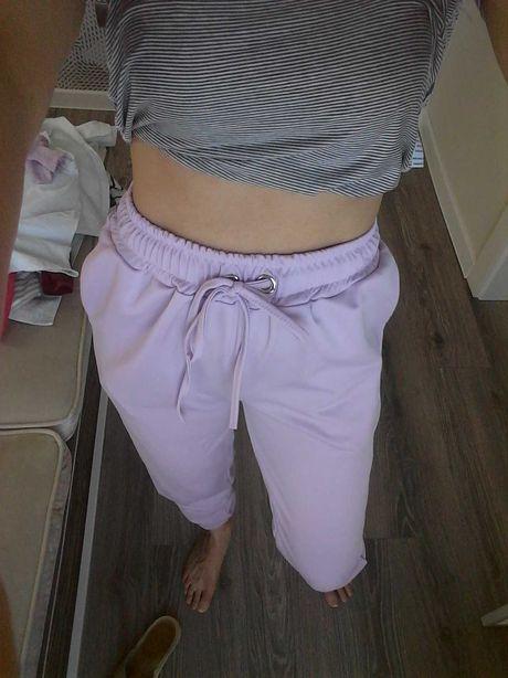 Piekne Spodnie wygodne z wysokim stanem liliowe