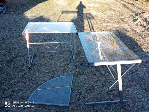 Stół szklany narożny