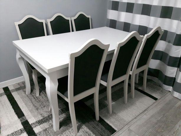 Stół biały + 6 krzeseł w stylu skandynawskim + zasłony. Okazja...