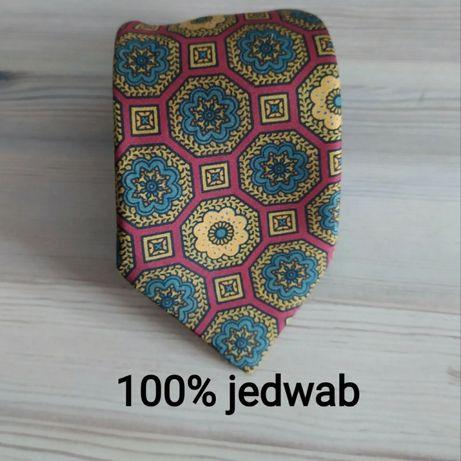 Jedwabny krawat 100% jedwab wzorzysty wąski kwiaty mandale geometria