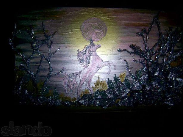 """Эксклюзивная авторская работа картина на стекле""""Единорог""""+бутылка"""