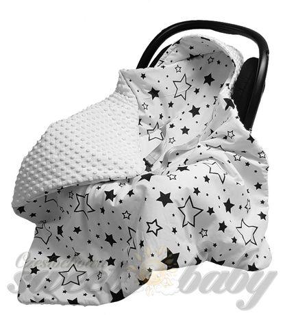 kocyk niemowlęcy, minky+bawełna miły do fotelika NOWY ocieplany