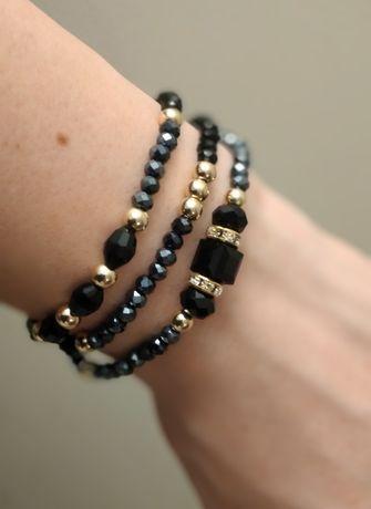 Bransoletka czarna, zestaw, Swarovski, złote koraliki, prezent