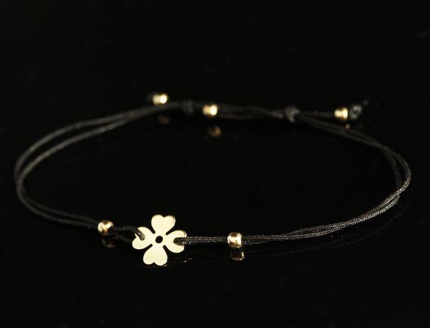 Złoto 585 - bransoletka koniczynka na sznurku jubilerskim