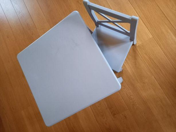 Stolik + krzesełko drewniane szary