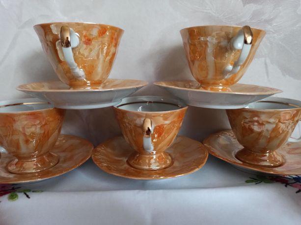 Serwis Fryderyka, filiżanki, cukiernica, mlecznik, porcelana Wawel,