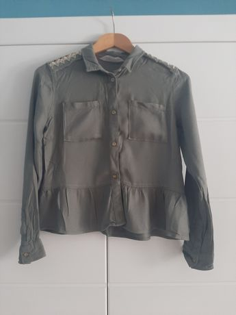 Koszula dziewczęca H&M r. 158 khaki z naszywkami