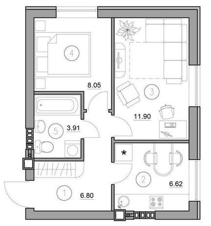 Супер двухкомнатная квартира 37м2 таких нету нигде!! Доступное жилье!!