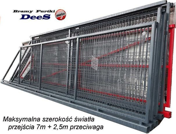 Brama przesuwna panelowa 4000x1700 m w komplecie monterskim