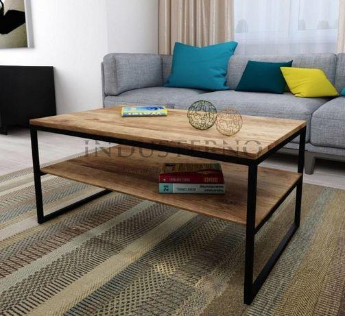 Stolik industrialny prostokątny z półką kawowy pod kolor i wymiar loft