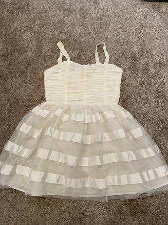 Biała sukienka balowa z tiulem rozmiar 164