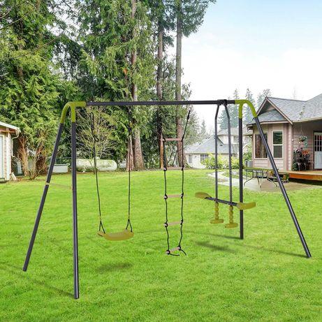 Huśtawka dla dzieci ogrodowa 3w1 huśtawką równoważną drabinką linową