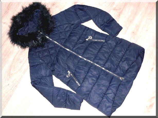 Granatowa kurtka pikowana z kapturem * rozm. 42/44 * XL