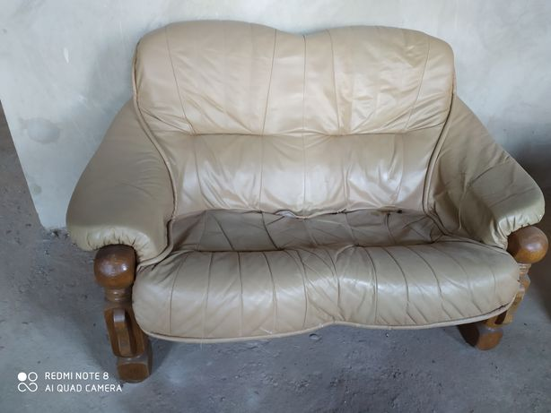 Кожаная мебель, комплект диван, кресло
