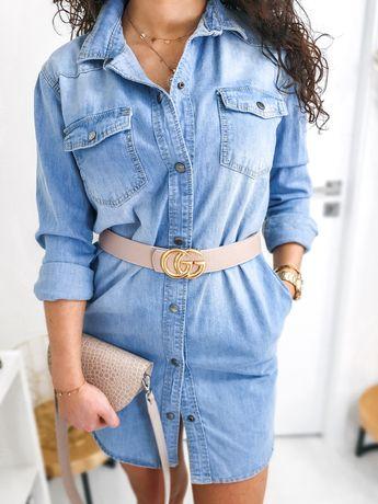 Wyprzedaż kolekcji sukienka koszulowa dżinsowa denim rozmiar uniwersal