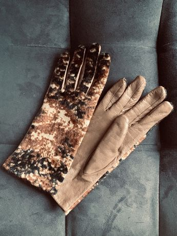 Женские перчатки Armani кожа мех утепленные