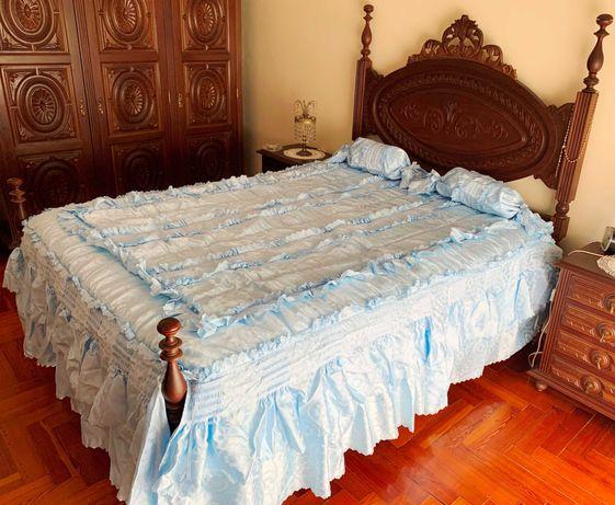 Colcha para cama de casal (2,00mx1,40m) com travesseiros | NUNCA USADA
