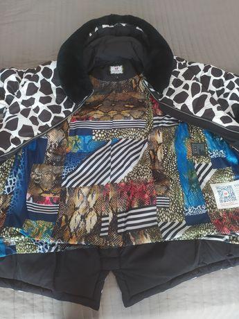 Стильный пуховик куртка зимняя с натуральным мехом Vo-tarun, S, биопух