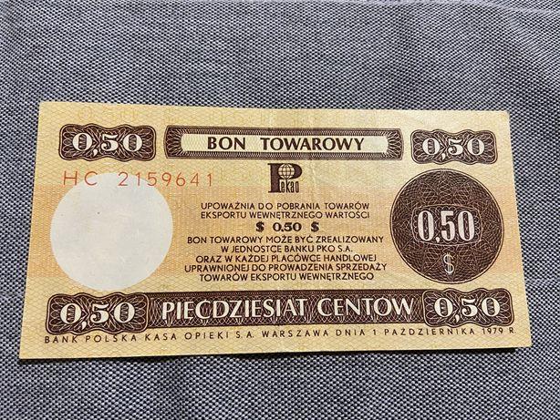 Bon towarowy 50 centow z 1979 roku