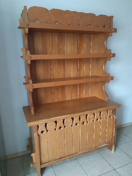 Kredens kuchenny, drewniany, styl góralski