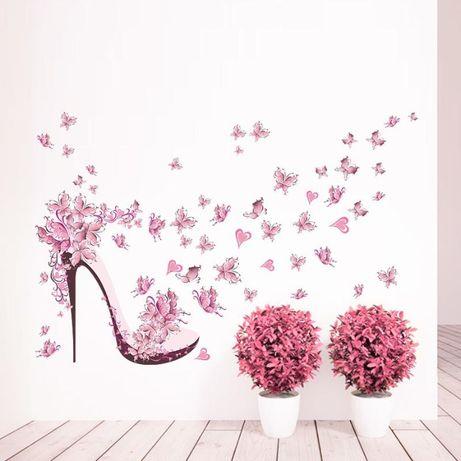 Туфелька 8Марта Весна наклейка Стикер на стену в детскую Бабочки цветы