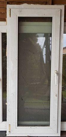 Okno plastikowe biało-brązowe 61x145cm