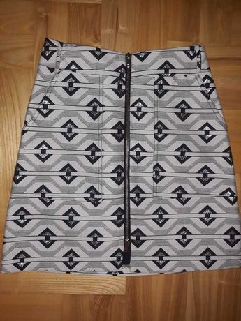 Spodnica river island xs 34 36 aztecki wzor zloty suwak
