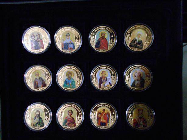 коллекция небесные покровители настольные медали покрыты золотом
