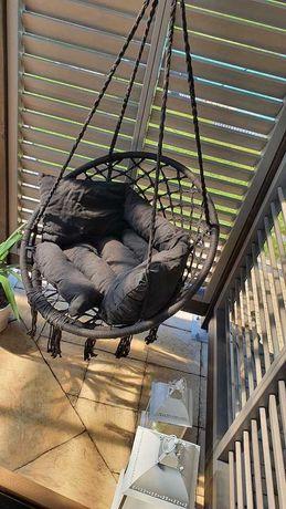 Bocianie gniazdo z poduszką, fotel brazylijski czarny, wiszący.
